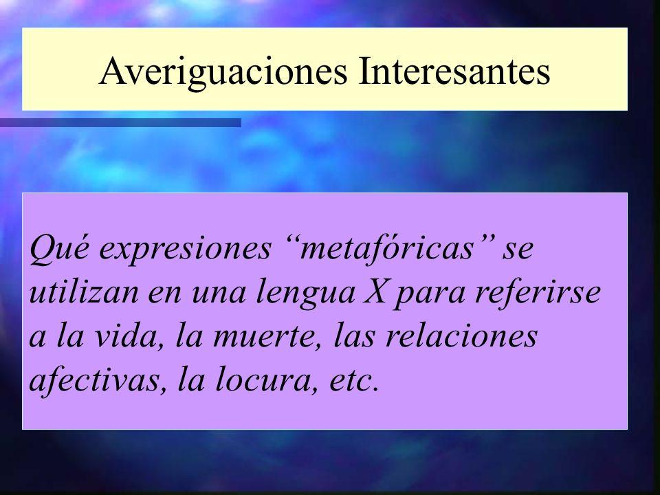 Averiguaciones Interesantes Qué expresiones metafóricas se utilizan en una lengua X para referirse a la vida, la muerte, las relaciones afectivas, la
