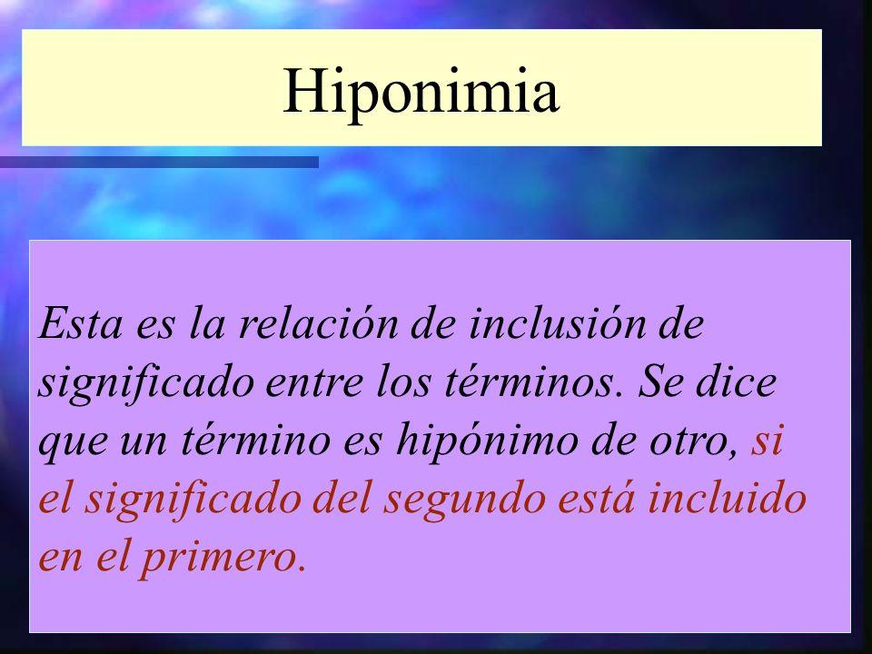 Hiponimia Esta es la relación de inclusión de significado entre los términos. Se dice que un término es hipónimo de otro, si el significado del segund