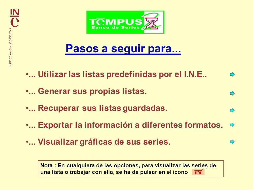 Pasos a seguir para...... Utilizar las listas predefinidas por el I.N.E..... Generar sus propias listas.... Exportar la información a diferentes forma