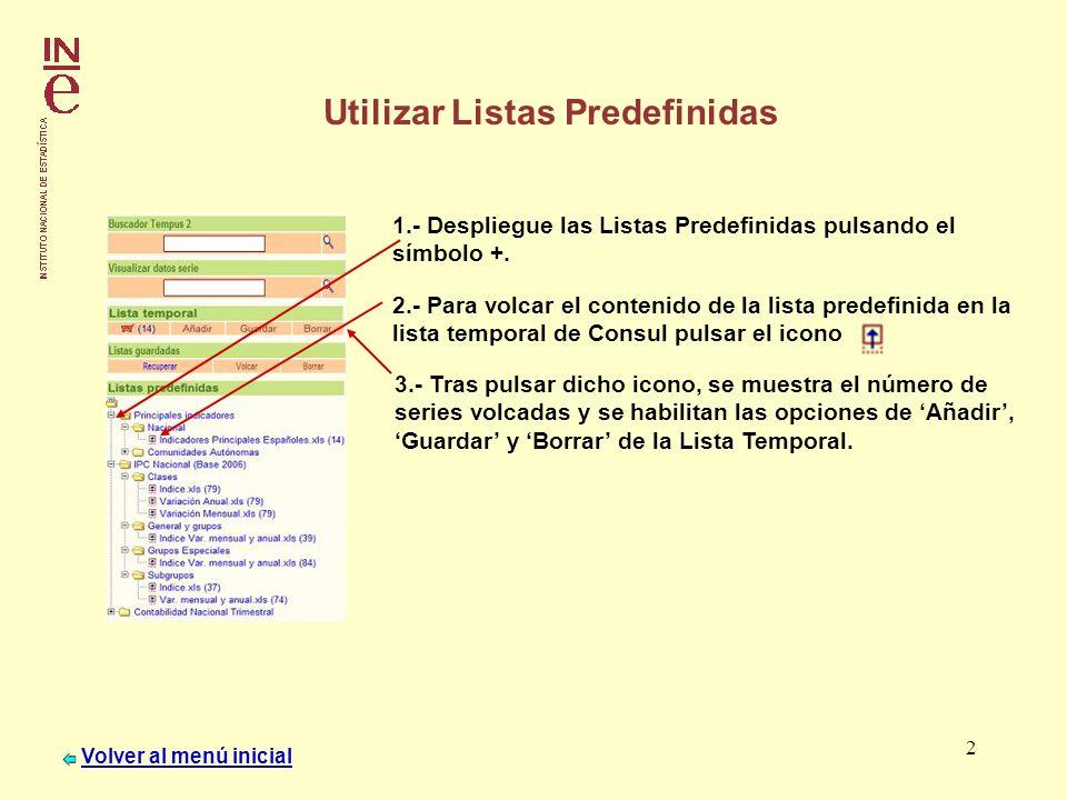 2 Utilizar Listas Predefinidas 1.- Despliegue las Listas Predefinidas pulsando el símbolo +. 2.- Para volcar el contenido de la lista predefinida en l