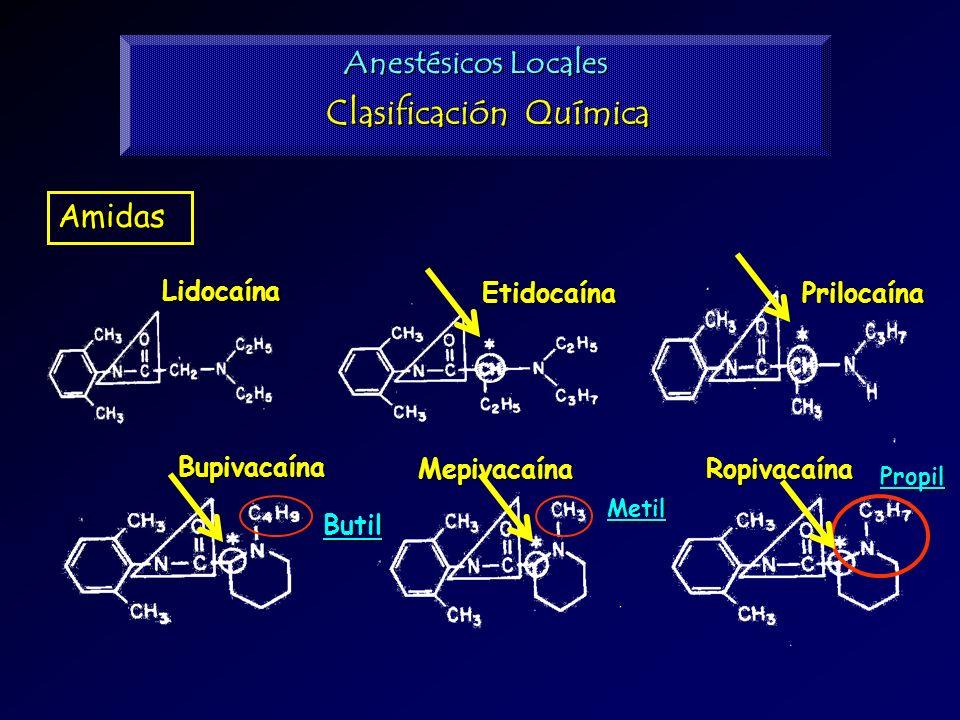 Amidas Lidocaína Etidocaína Mepivacaína Bupivacaína Prilocaína RopivacaínaPropil Butil Metil Anestésicos Locales Clasificación Química