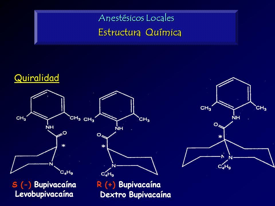 S (-) Bupivacaína Levobupivacaína R (+) Bupivacaína Dextro Bupivacaína Anestésicos Locales Estructura Química Quiralidad