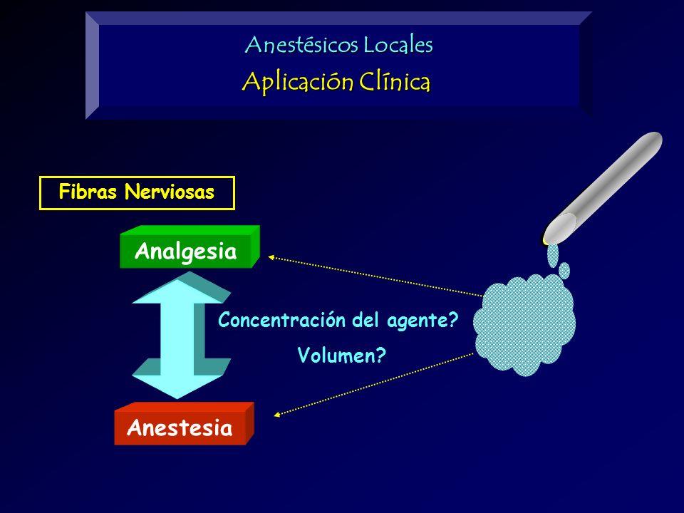 Fibras Nerviosas Analgesia Anestesia Concentración del agente? Volumen? Anestésicos Locales Aplicación Clínica