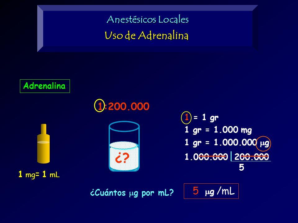Adrenalina 1 mg = 1 mL ¿? 1:200.000 1 = 1 gr 1 gr = 1.000 mg 1 gr = 1.000.000 g 1.000.000 200.000 5 g /mL ¿Cuántos g por mL? 5 Anestésicos Locales Uso
