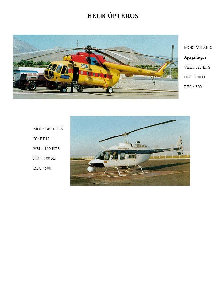 HELICÓPTEROS MOD: BELL 206 IC: HD12 VEL.: 150 KTS NIV.: 100 FL REG.: 500 MOD: MILMI-8 Apagafuegos VEL.: 180 KTS NIV.: 100 FL REG.: 500
