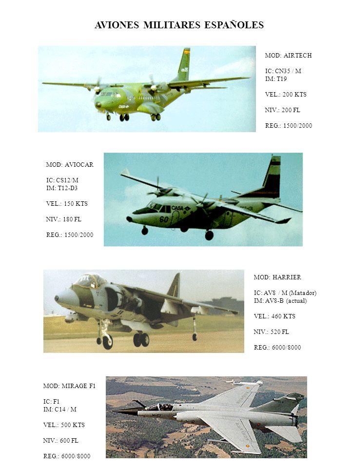AVIONES MILITARES ESPAÑOLES MOD: AIRTECH IC: CN35 / M IM: T19 VEL.: 200 KTS NIV.: 200 FL REG.: 1500/2000 MOD: AVIOCAR IC: CS12/M IM: T12-D3 VEL.: 150 KTS NIV.: 180 FL REG.: 1500/2000 MOD: HARRIER IC: AV8 / M (Matador) IM: AV8-B (actual) VEL.: 460 KTS NIV.: 520 FL REG.: 6000/8000 MOD: MIRAGE F1 IC: F1 IM: C14 / M VEL.: 500 KTS NIV.: 600 FL REG.: 6000/8000