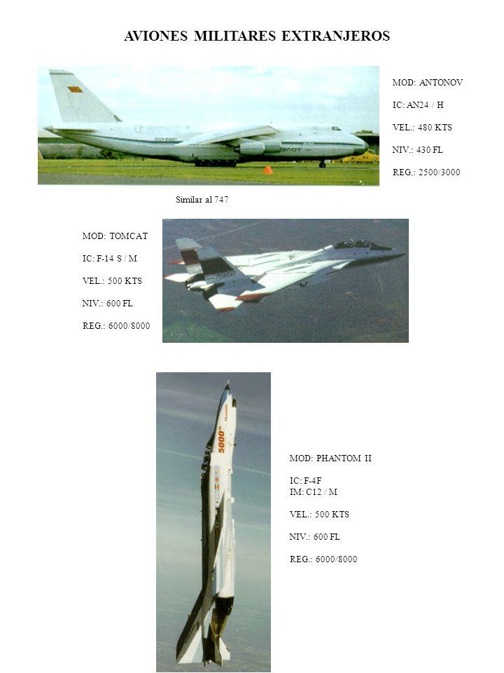 AVIONES MILITARES EXTRANJEROS MOD: ANTONOV IC: AN24 / H VEL.: 480 KTS NIV.: 430 FL REG.: 2500/3000 Similar al 747 MOD: TOMCAT IC: F-14 S / M VEL.: 500 KTS NIV.: 600 FL REG.: 6000/8000 MOD: PHANTOM II IC: F-4F IM: C12 / M VEL.: 500 KTS NIV.: 600 FL REG.: 6000/8000