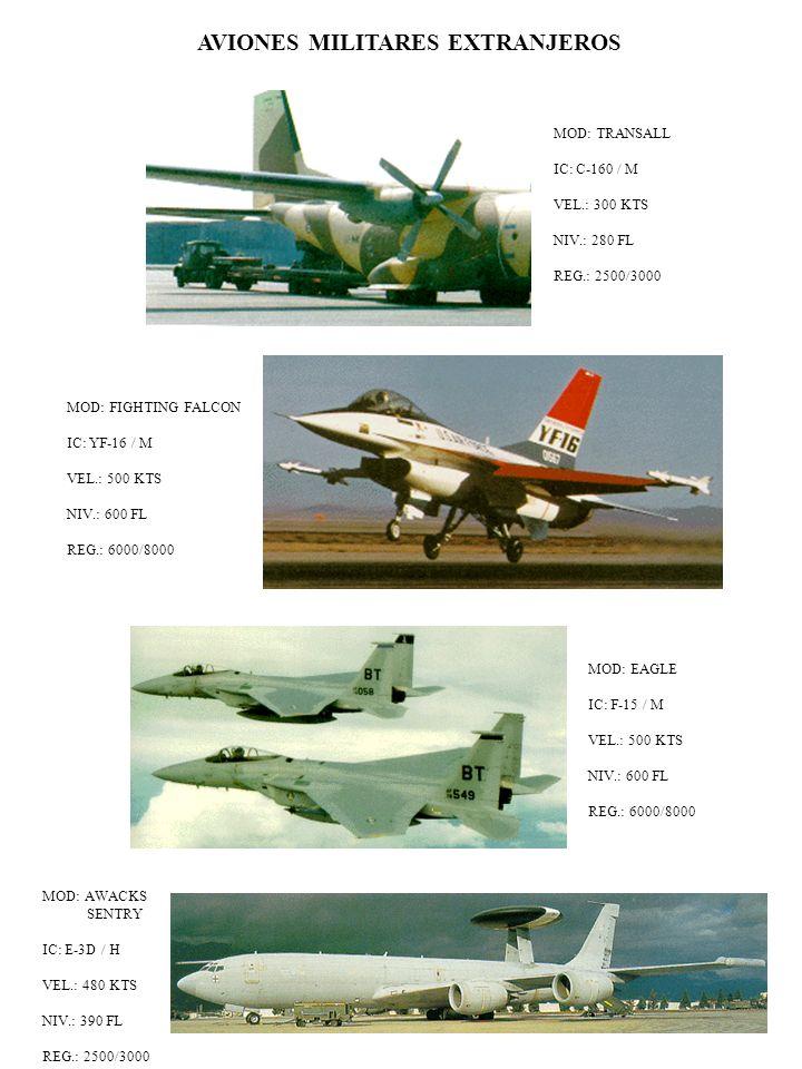 MOD: FIGHTING FALCON IC: YF-16 / M VEL.: 500 KTS NIV.: 600 FL REG.: 6000/8000 MOD: TRANSALL IC: C-160 / M VEL.: 300 KTS NIV.: 280 FL REG.: 2500/3000 A