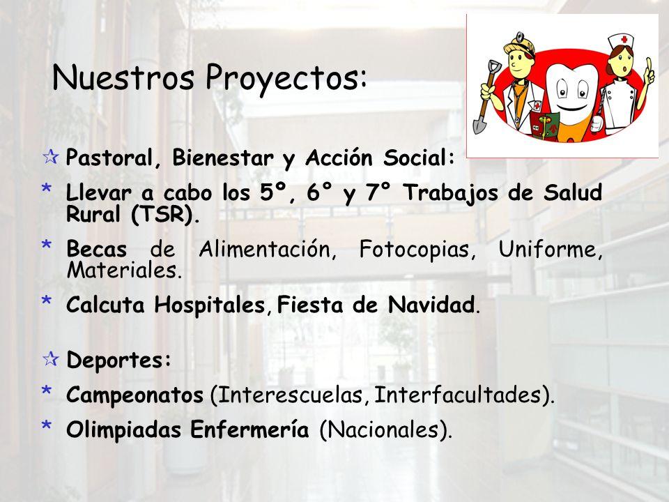 Nuestros Proyectos: Pastoral, Bienestar y Acción Social: *Llevar a cabo los 5º, 6° y 7° Trabajos de Salud Rural (TSR).