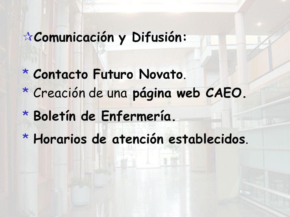 Comunicación y Difusión: *Contacto Futuro Novato. *Creación de una página web CAEO.