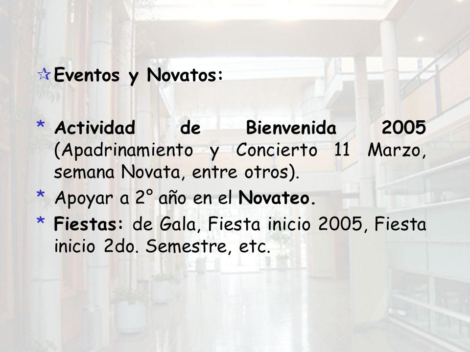 Eventos y Novatos: *Actividad de Bienvenida 2005 (Apadrinamiento y Concierto 11 Marzo, semana Novata, entre otros).