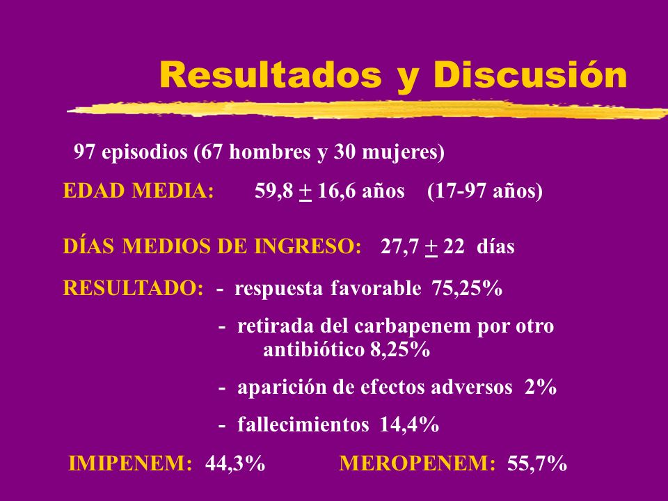 Resultados y Discusión EDAD MEDIA: 59,8 + 16,6 años (17-97 años) DÍAS MEDIOS DE INGRESO: 27,7 + 22 días RESULTADO: - respuesta favorable 75,25% - reti
