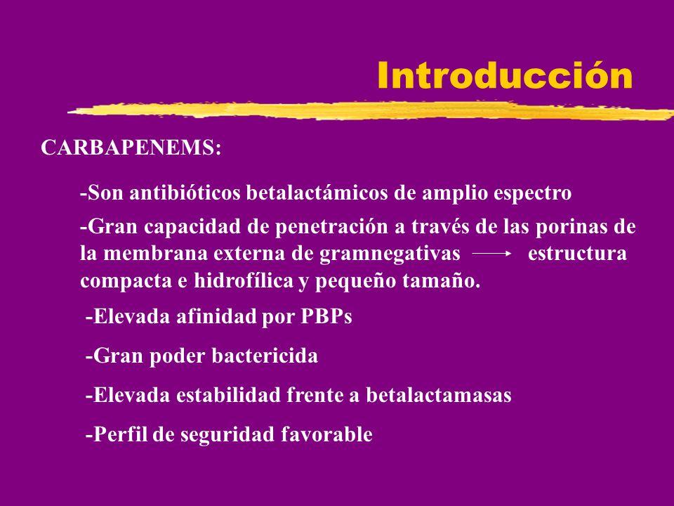 Introducción MECANISMO DE ACCIÓN Inhiben la síntesis de la pared celular en su último paso (transpeptidación) INDICACIONES -Infecciones intraabdominales -Infecciones del tracto respiratorio inferior -Infecciones genitourinarias y ginecológicas -infecciones de piel, tejidos blandos, óseas y articulares( IMIPENEM ) -Septicemia -Meningitis( MEROPENEM )