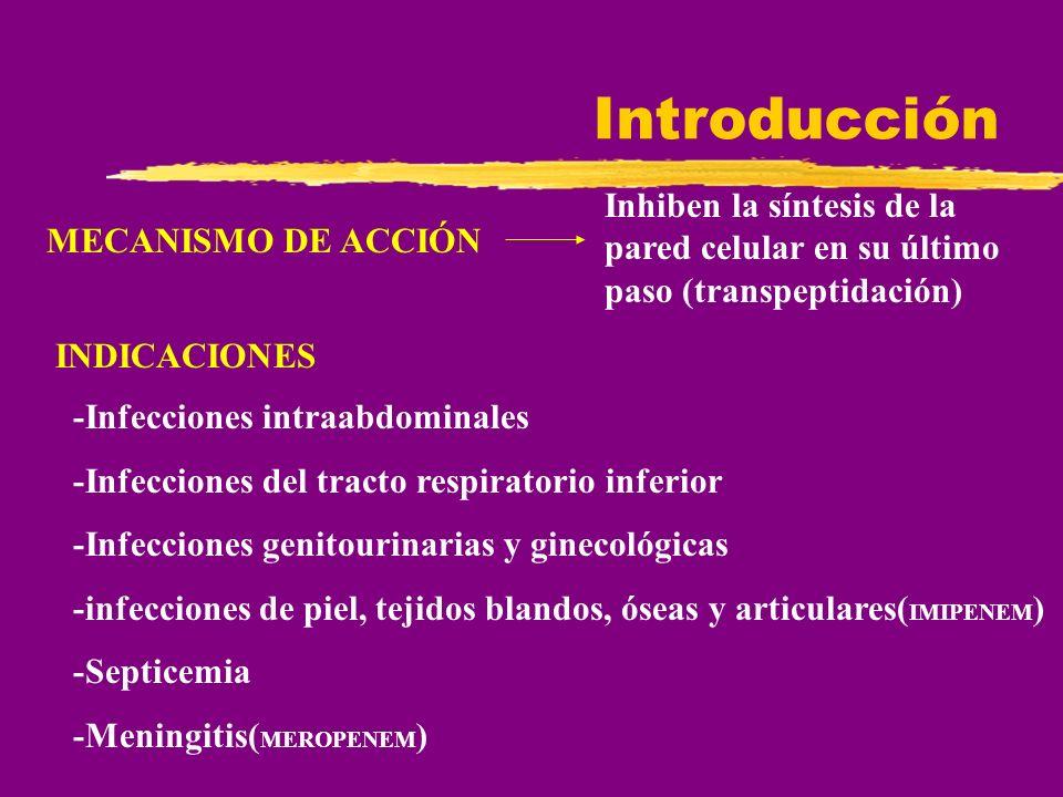 Introducción MECANISMO DE ACCIÓN Inhiben la síntesis de la pared celular en su último paso (transpeptidación) INDICACIONES -Infecciones intraabdominal