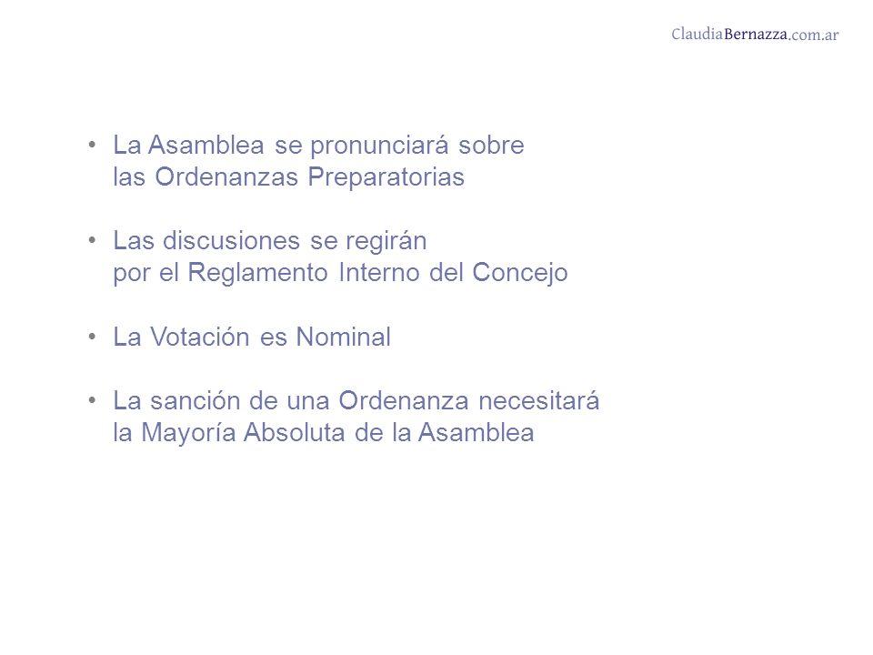 La Asamblea se pronunciará sobre las Ordenanzas Preparatorias Las discusiones se regirán por el Reglamento Interno del Concejo La Votación es Nominal La sanción de una Ordenanza necesitará la Mayoría Absoluta de la Asamblea