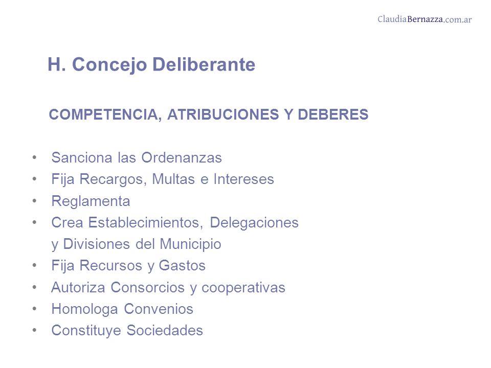 H. Concejo Deliberante COMPETENCIA, ATRIBUCIONES Y DEBERES Sanciona las Ordenanzas Fija Recargos, Multas e Intereses Reglamenta Crea Establecimientos,