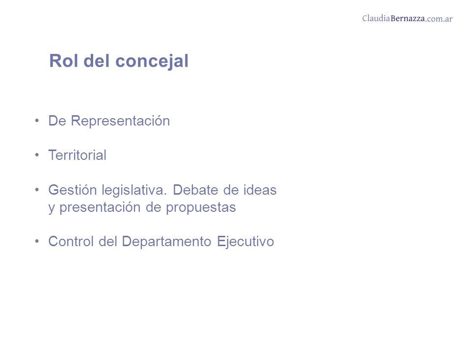 De Representación Territorial Gestión legislativa.