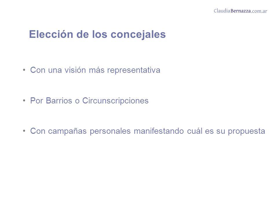 Con una visión más representativa Por Barrios o Circunscripciones Con campañas personales manifestando cuál es su propuesta Elección de los concejales