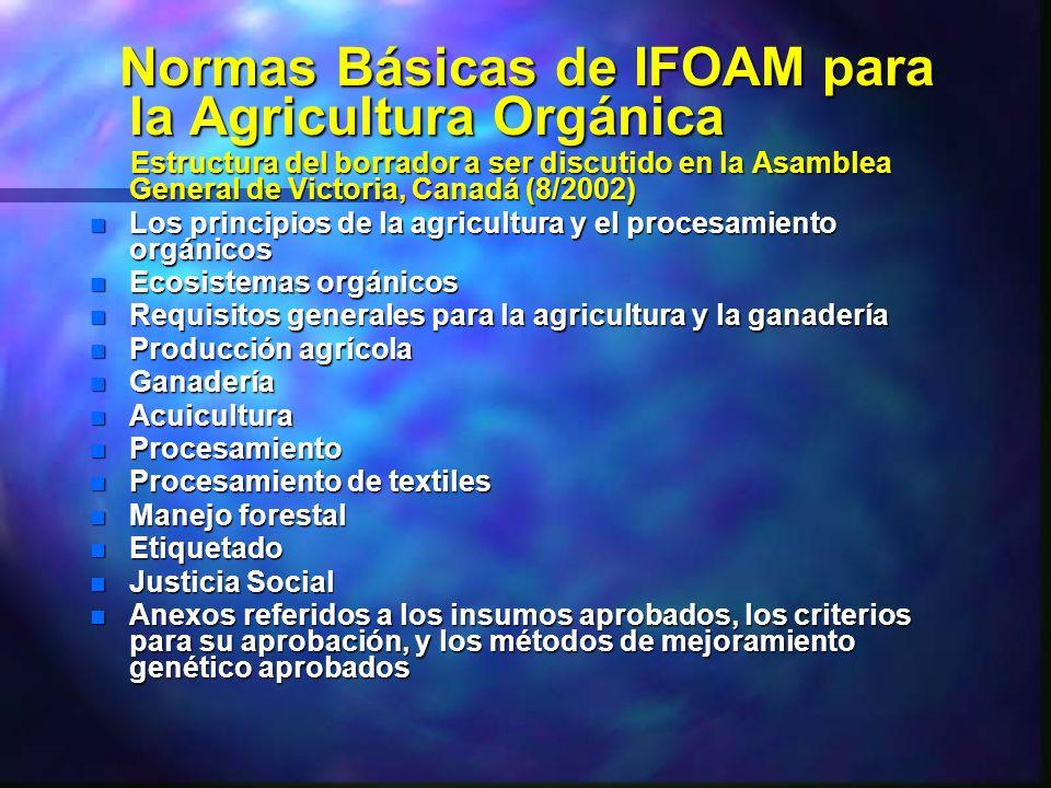 Normas Básicas de IFOAM para la Agricultura Orgánica Normas Básicas de IFOAM para la Agricultura Orgánica Estructura del borrador a ser discutido en l
