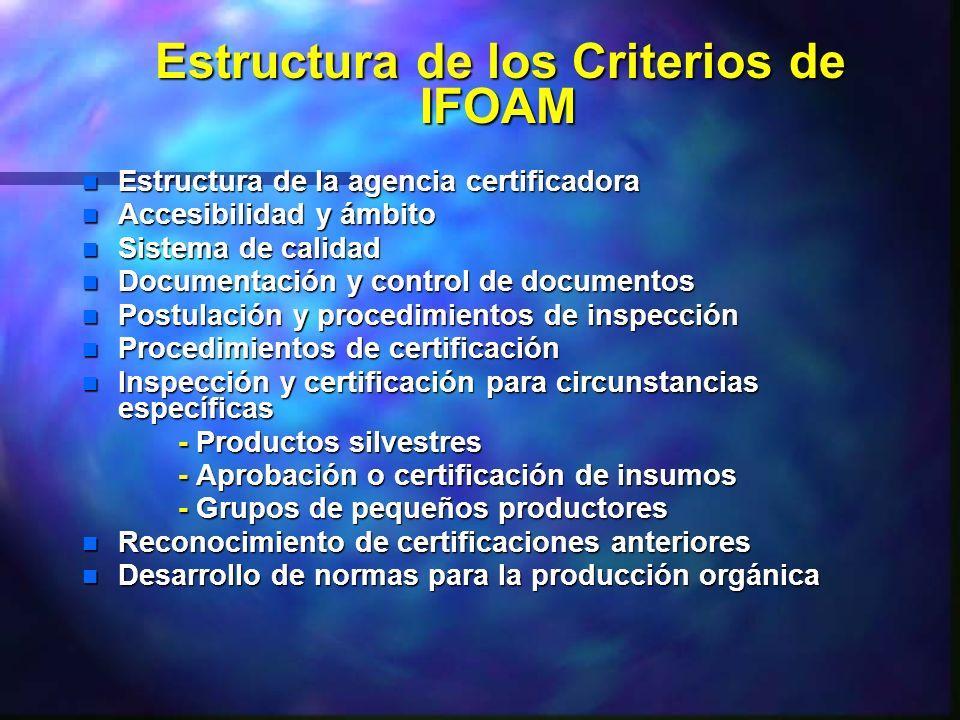 Estructura de los Criterios de IFOAM Estructura de los Criterios de IFOAM n Estructura de la agencia certificadora n Accesibilidad y ámbito n Sistema