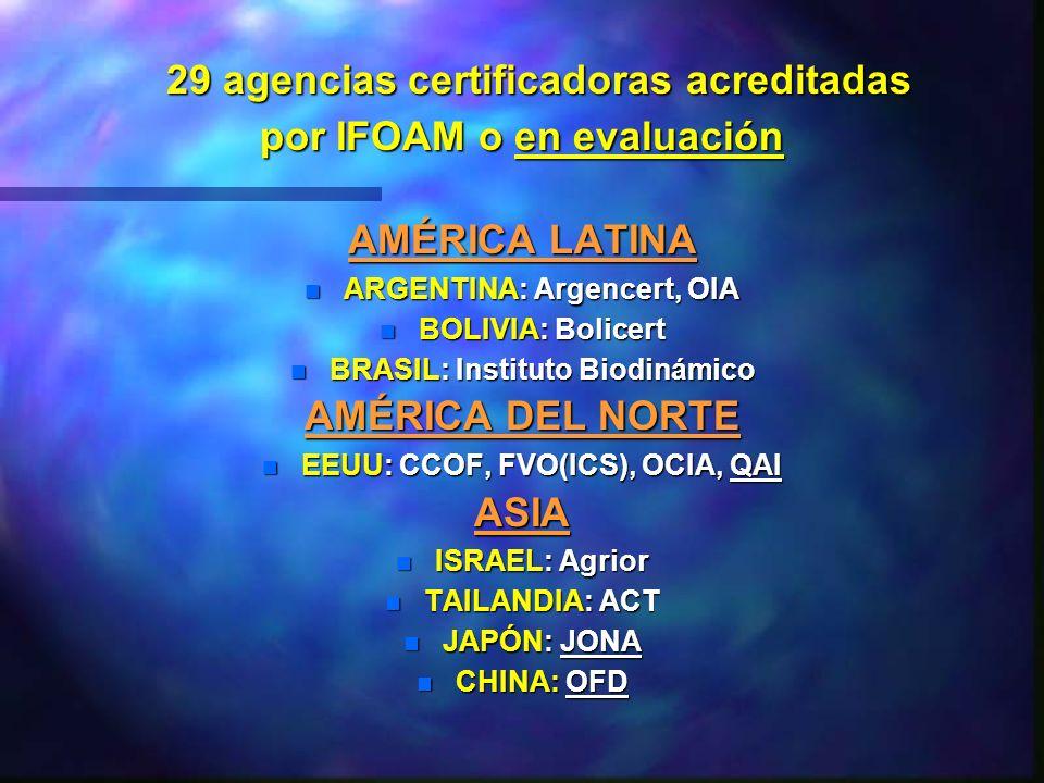 29 agencias certificadoras acreditadas 29 agencias certificadoras acreditadas por IFOAM o en evaluación AMÉRICA LATINA n ARGENTINA: Argencert, OIA n B