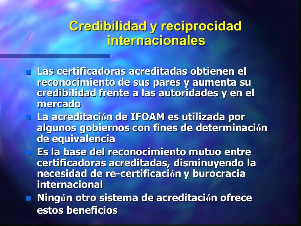 Credibilidad y reciprocidad internacionales Credibilidad y reciprocidad internacionales n Las certificadoras acreditadas obtienen el reconocimiento de
