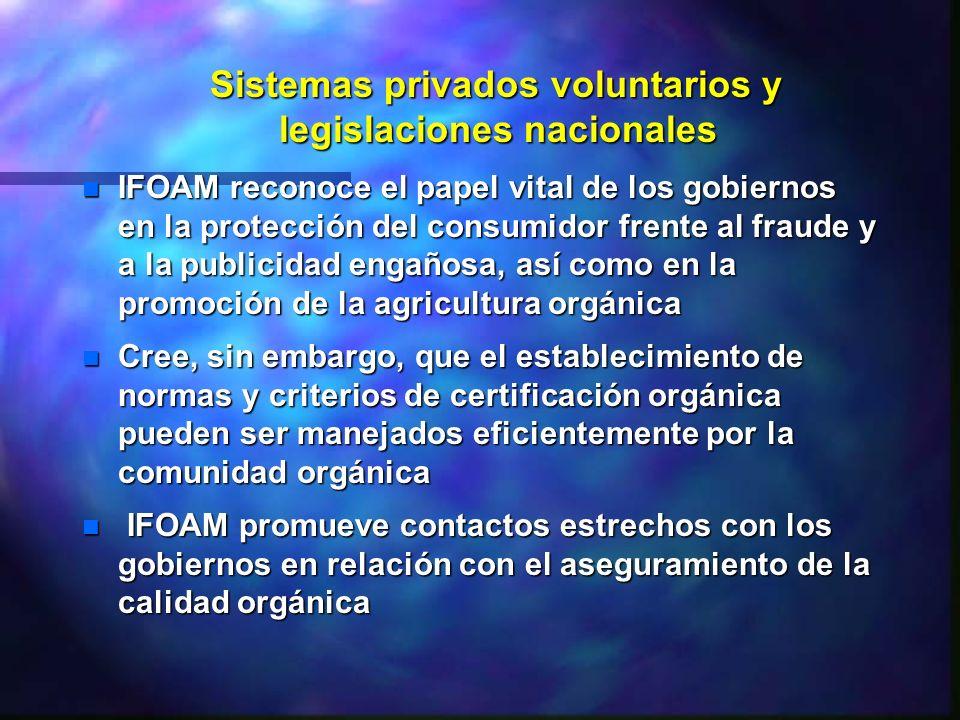 Sistemas privados voluntarios y legislaciones nacionales Sistemas privados voluntarios y legislaciones nacionales n IFOAM reconoce el papel vital de l