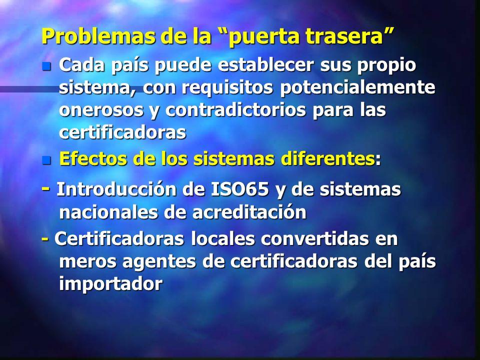 Problemas de la puerta trasera n Cada país puede establecer sus propio sistema, con requisitos potencialemente onerosos y contradictorios para las cer