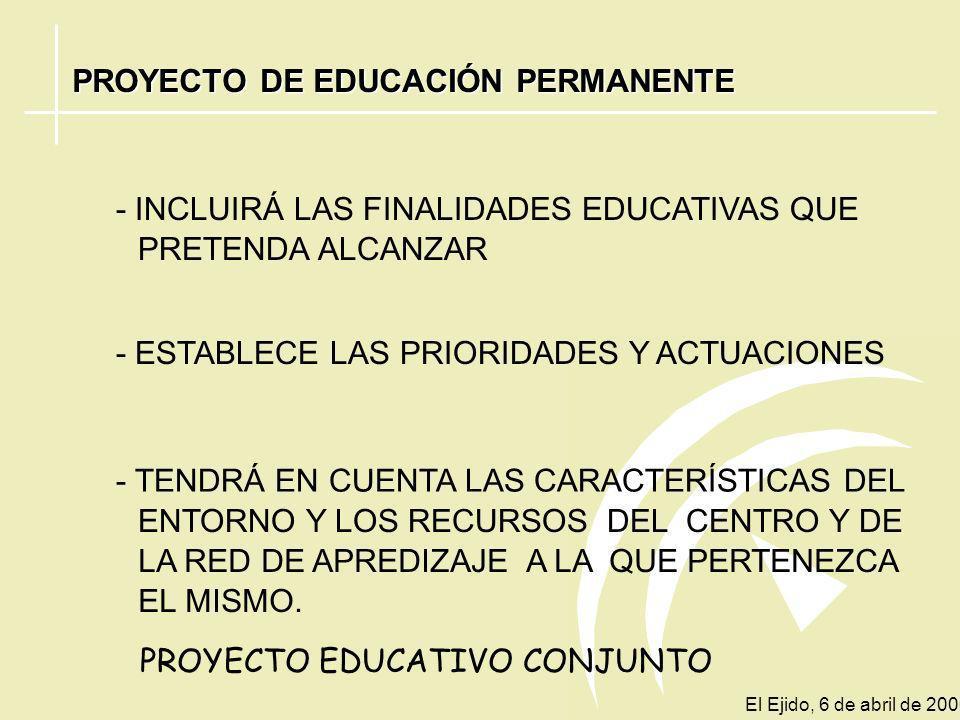 PROYECTO DE EDUCACIÓN PERMANENTE LO REALIZA EL EQUIPO DIRECTIVO ORGANOS DE COORDINACIÓN DOCENTE CLAUSTRO DE PROFESORES SECTORES DE LA COMUNIDAD EDUCAT