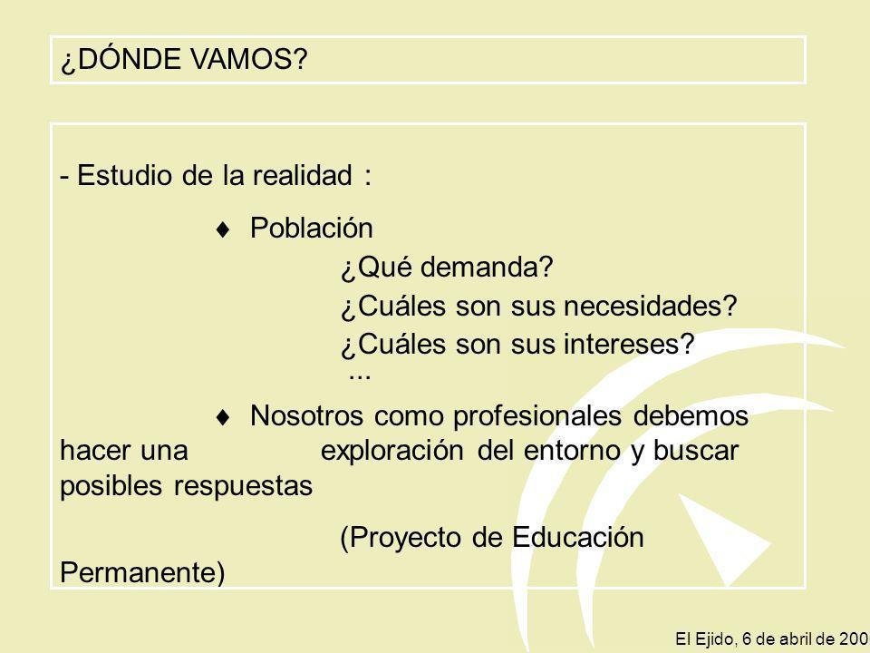 PROYECTO DE EDUCACIÓN PERMANENTE - INCLUIRÁ LAS FINALIDADES EDUCATIVAS QUE PRETENDA ALCANZAR - ESTABLECE LAS PRIORIDADES Y ACTUACIONES - TENDRÁ EN CUE
