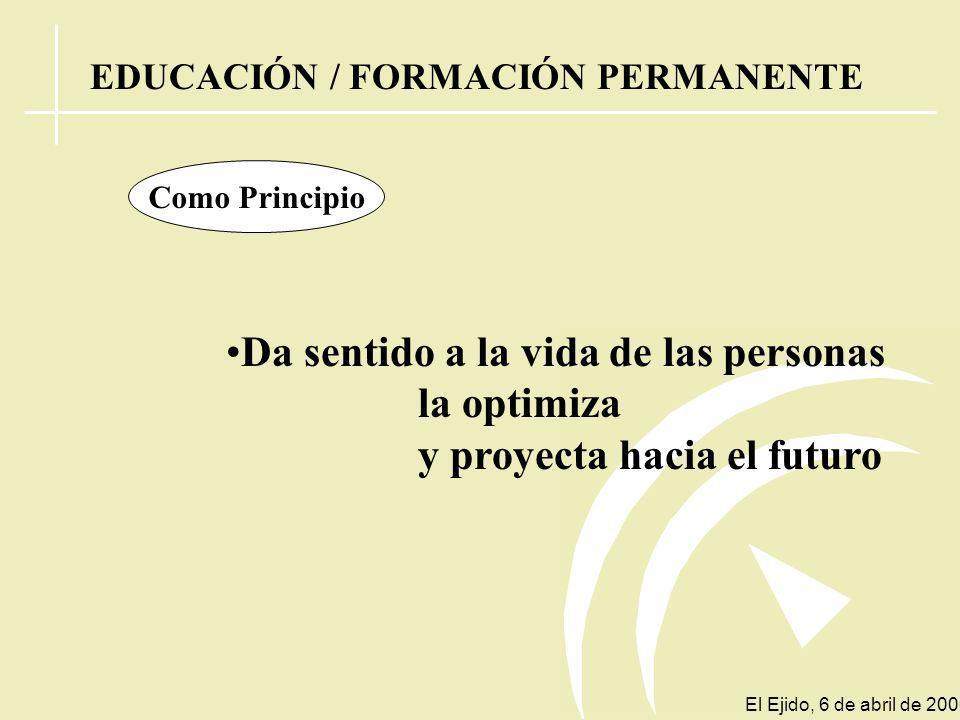 EDUCACIÓN PERMANENTE ¿ PRINCIPIO ? o ¿ SISTEMA ? El Ejido, 6 de abril de 2006