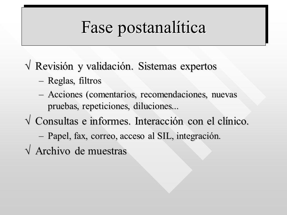 Fase postanalítica Revisión y validación. Sistemas expertosRevisión y validación. Sistemas expertos –Reglas, filtros –Acciones (comentarios, recomenda