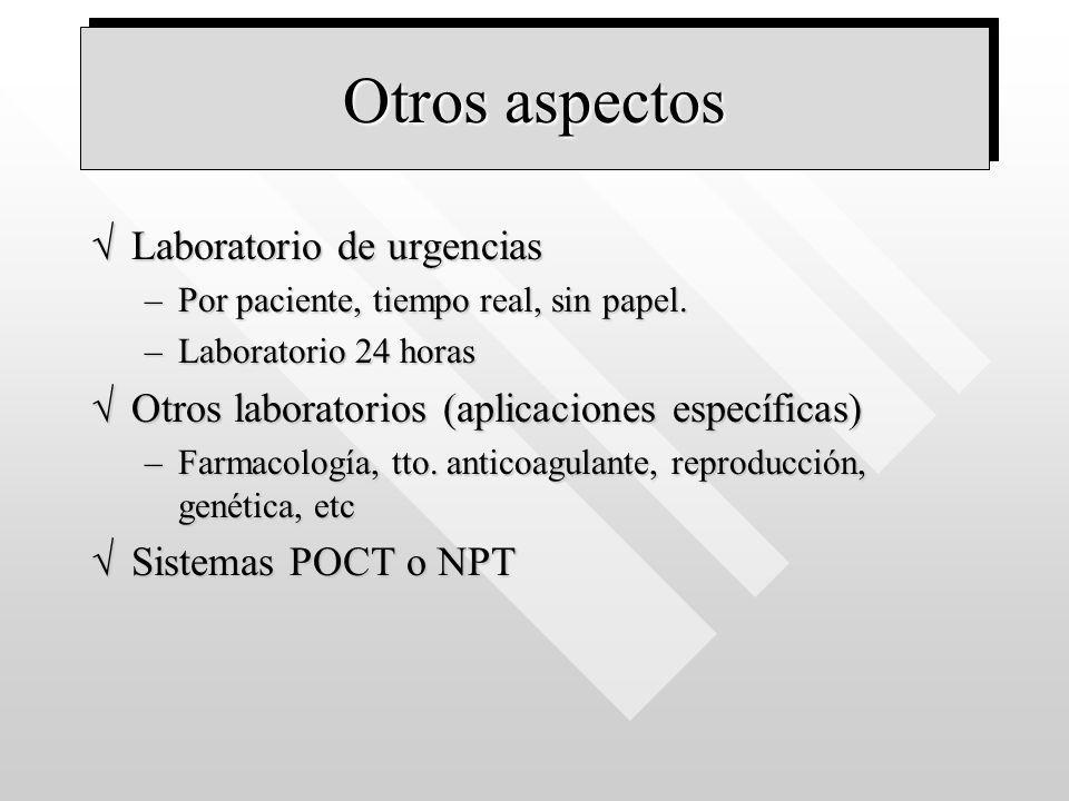 Otros aspectos Laboratorio de urgenciasLaboratorio de urgencias –Por paciente, tiempo real, sin papel. –Laboratorio 24 horas Otros laboratorios (aplic
