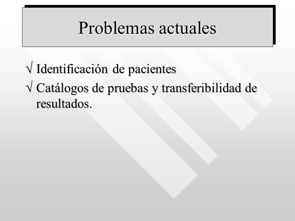 Problemas actuales Identificación de pacientesIdentificación de pacientes Catálogos de pruebas y transferibilidad de resultados.Catálogos de pruebas y