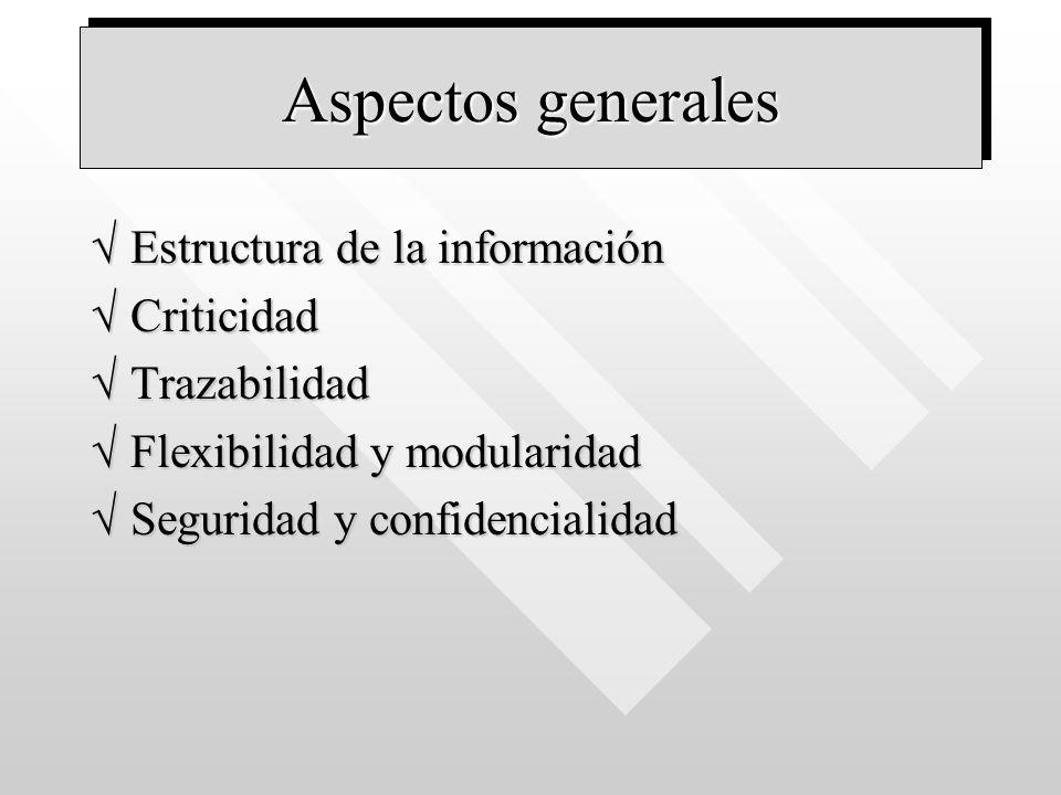 Aspectos generales Estructura de la informaciónEstructura de la información CriticidadCriticidad TrazabilidadTrazabilidad Flexibilidad y modularidadFl