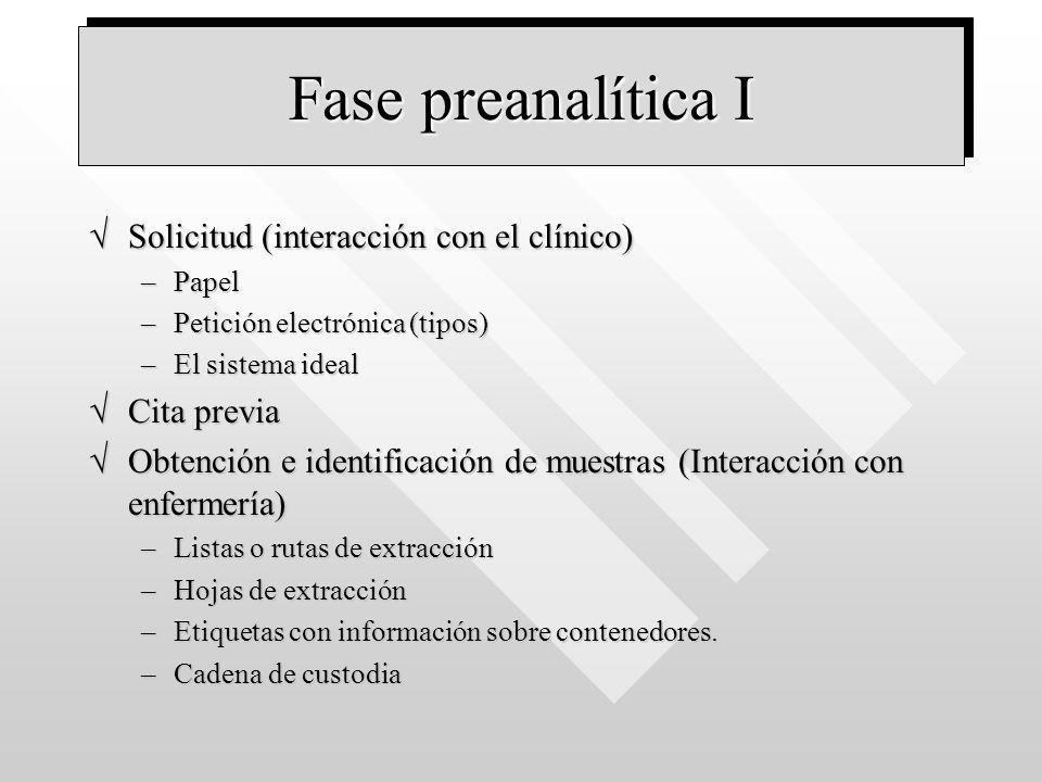 Fase preanalítica I Solicitud (interacción con el clínico)Solicitud (interacción con el clínico) –Papel –Petición electrónica (tipos) –El sistema idea