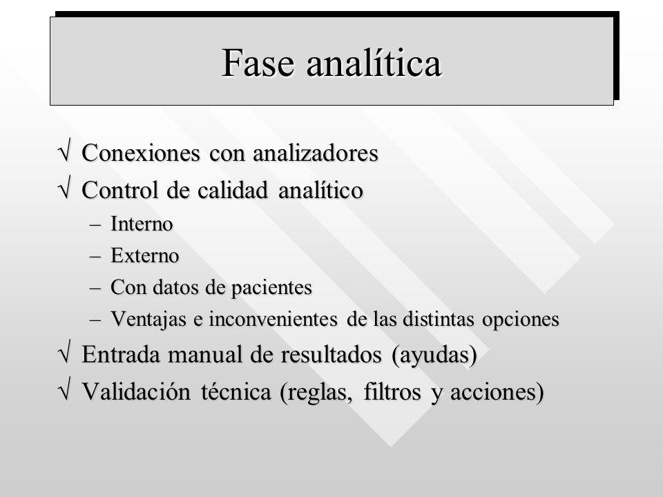 Fase analítica Conexiones con analizadoresConexiones con analizadores Control de calidad analíticoControl de calidad analítico –Interno –Externo –Con