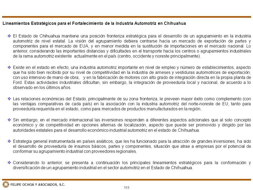 FELIPE OCHOA Y ASOCIADOS, S.C. vEl Estado de Chihuahua mantiene una posición fronteriza estratégica para el desarrollo de un agrupamiento en la indust