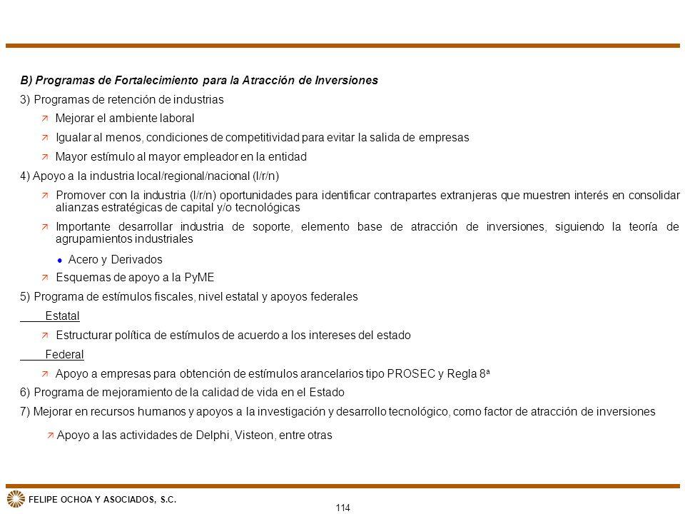 FELIPE OCHOA Y ASOCIADOS, S.C. B) Programas de Fortalecimiento para la Atracción de Inversiones 3) Programas de retención de industrias ä Mejorar el a