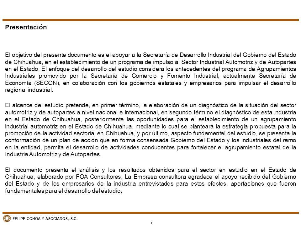 FELIPE OCHOA Y ASOCIADOS, S.C. Presentación El objetivo del presente documento es el apoyar a la Secretaría de Desarrollo Industrial del Gobierno del
