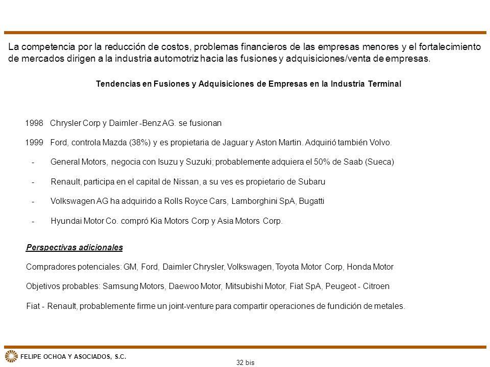 FELIPE OCHOA Y ASOCIADOS, S.C. La competencia por la reducción de costos, problemas financieros de las empresas menores y el fortalecimiento de mercad