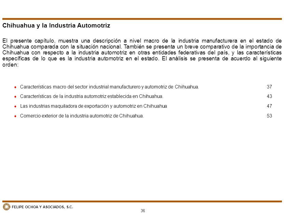 FELIPE OCHOA Y ASOCIADOS, S.C. Chihuahua y la Industria Automotriz El presente capítulo, muestra una descripción a nivel macro de la industria manufac