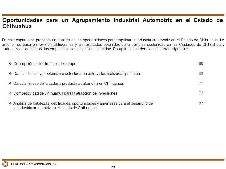 FELIPE OCHOA Y ASOCIADOS, S.C. Oportunidades para un Agrupamiento Industrial Automotriz en el Estado de Chihuahua En este capítulo se presenta un anál