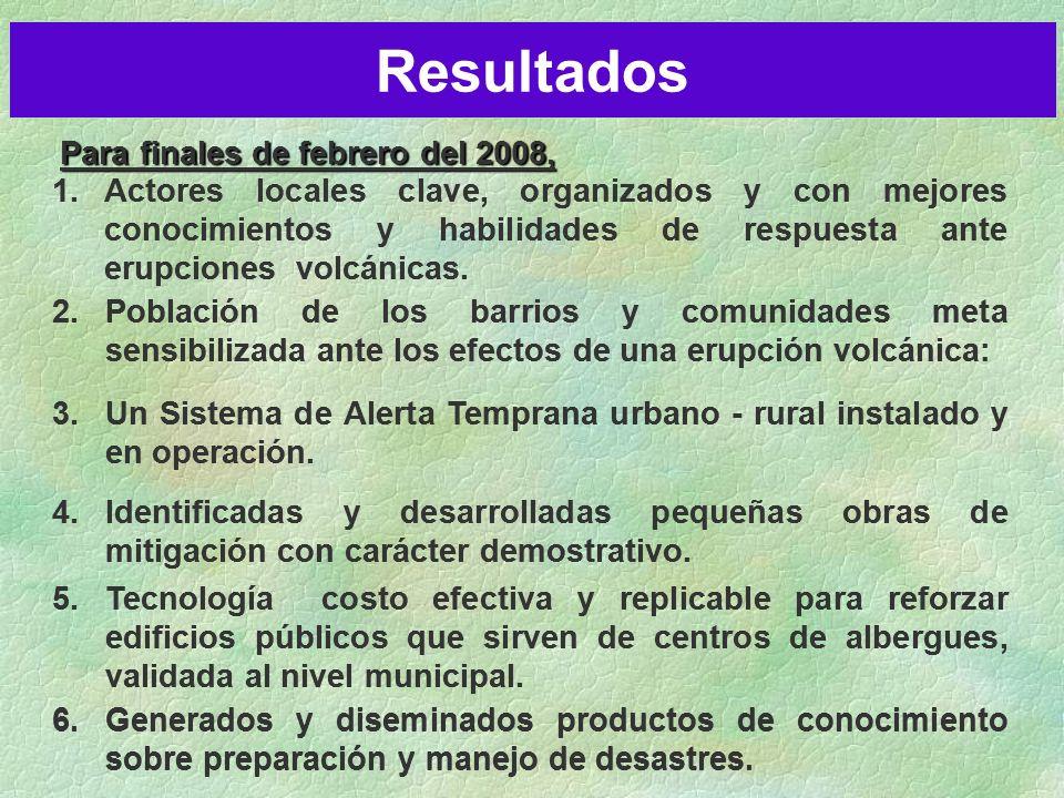 Para finales de febrero del 2008, Resultados 1.Actores locales clave, organizados y con mejores conocimientos y habilidades de respuesta ante erupciones volcánicas.