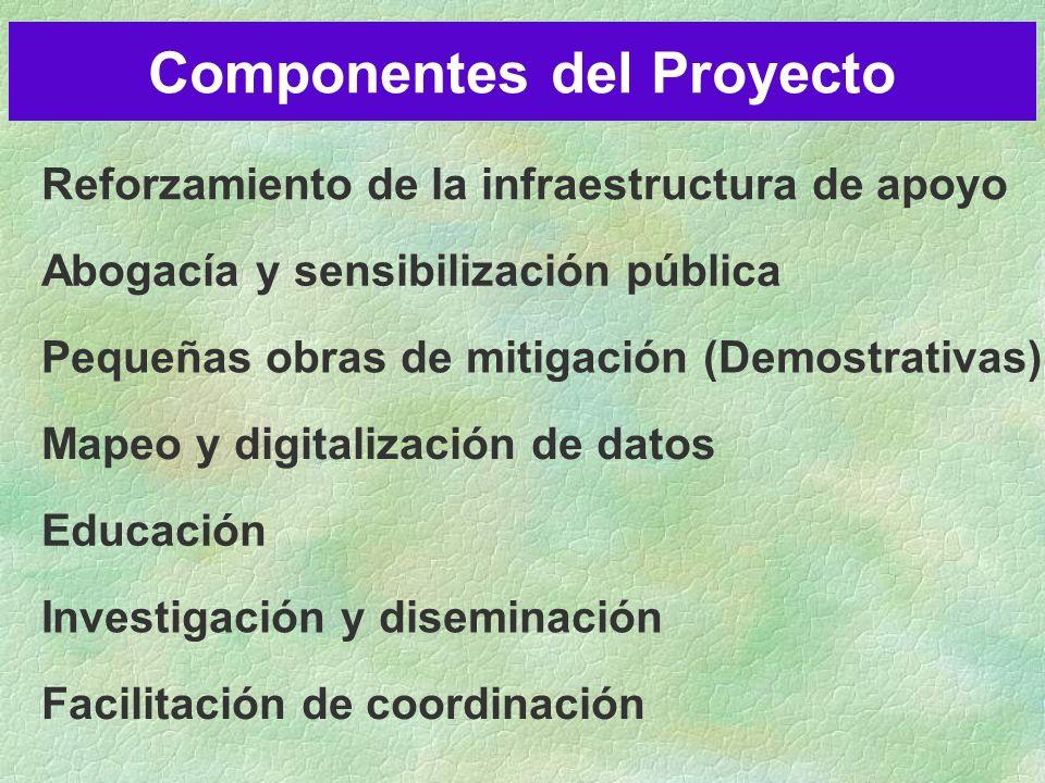 Reforzamiento de la infraestructura de apoyo Abogacía y sensibilización pública Pequeñas obras de mitigación (Demostrativas) Mapeo y digitalización de datos Educación Investigación y diseminación Facilitación de coordinación Componentes del Proyecto