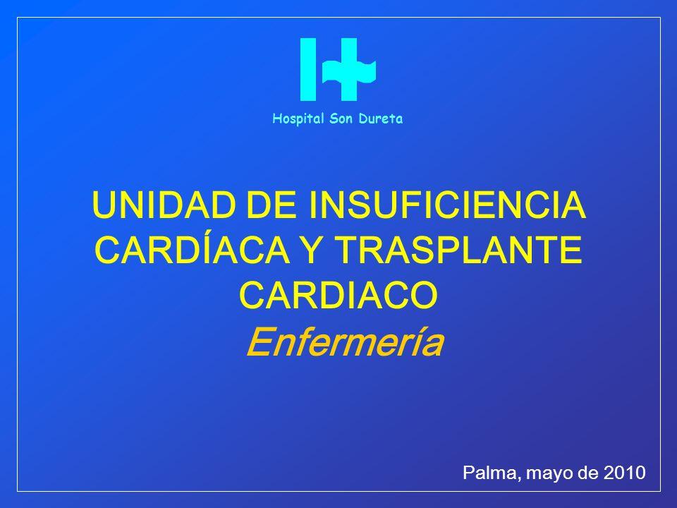 UNIDAD DE INSUFICIENCIA CARDÍACA Y TRASPLANTE CARDIACO Enfermería Palma, mayo de 2010 Hospital Son Dureta