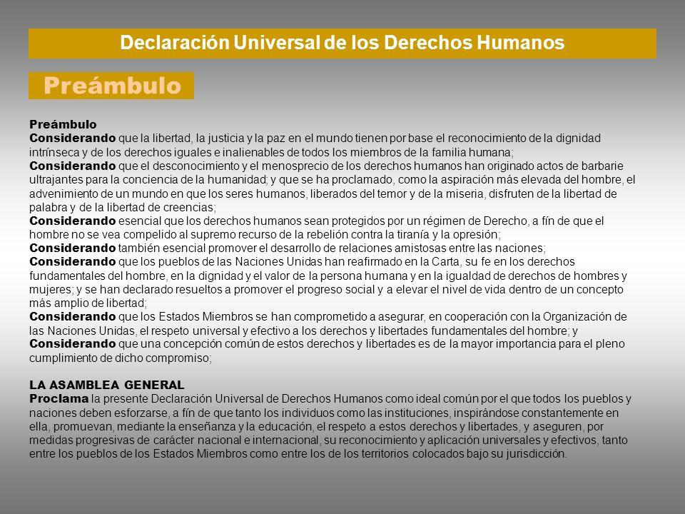 Declaración Universal de los Derechos Humanos Preámbulo Considerando que la libertad, la justicia y la paz en el mundo tienen por base el reconocimien