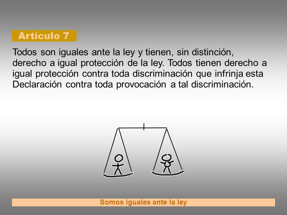 Artículo 7 Somos iguales ante la ley Todos son iguales ante la ley y tienen, sin distinción, derecho a igual protección de la ley. Todos tienen derech