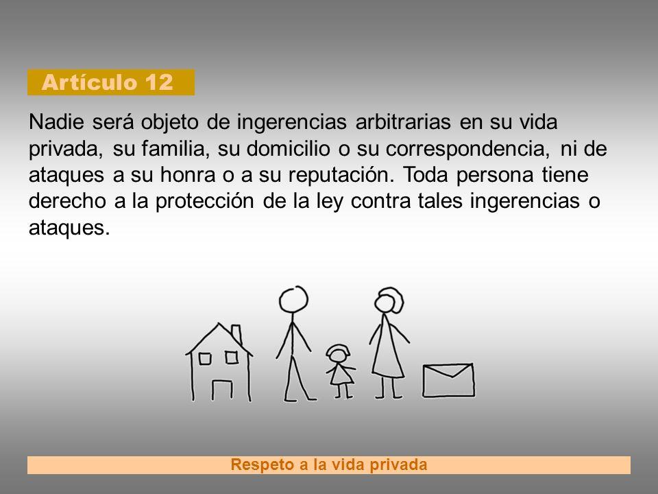 Artículo 12 Respeto a la vida privada Nadie será objeto de ingerencias arbitrarias en su vida privada, su familia, su domicilio o su correspondencia,