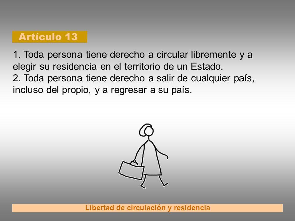 Artículo 13 Libertad de circulación y residencia 1. Toda persona tiene derecho a circular libremente y a elegir su residencia en el territorio de un E